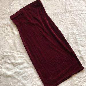 Burgundy velvet strapless midi dress XL  A13